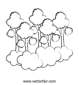 grunge tropical trees branches stalk with clouds