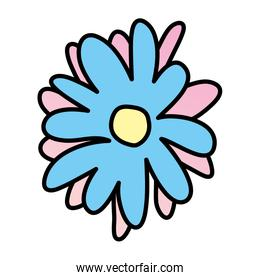 color nice flower with tropical petals design