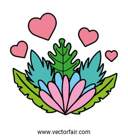 color nice flower with hearts and exotic plant