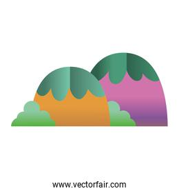 cute exotic mountains with bushes plant