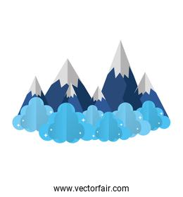 ice mountains with fluffy clouds landscape