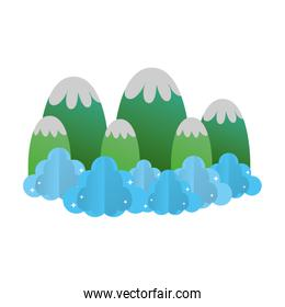 ecology mountains with fluffy clouds landscape