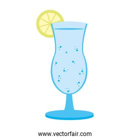 delicious cold beverage glass with lemon
