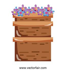 tropical flowers style inside wood container
