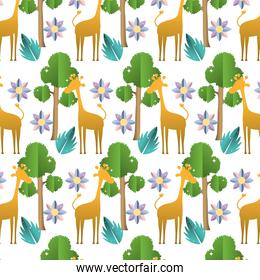giraffe with exotic flower and tree background