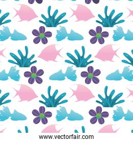 tropical flower and plant leaves background