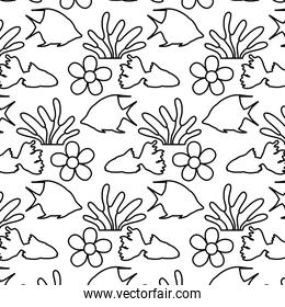 line tropical flower and plant leaves background