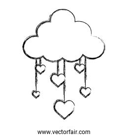 grunge nature fluffy cloud and hanging hearts