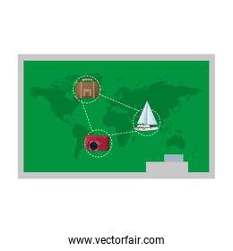 travel global map with journey objects