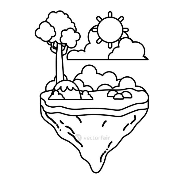 line tree with bushes plant in the float island