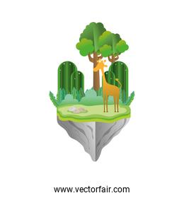 giraffe animal with mountains in the float island
