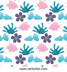 angel fish with seaweed and flower background