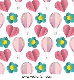air balloon with heart and flower background