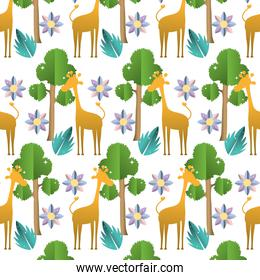 giraffe with tree leaves and flower background
