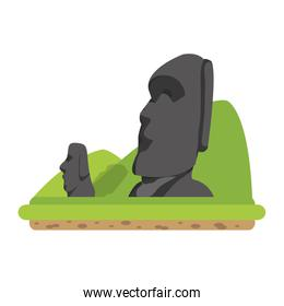 moai sculture from easter island and mountains