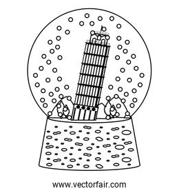 line leaning tower of pisa inside snow glass