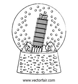 grunge leaning tower of pisa inside snow glass