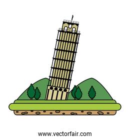 color leaning tower of pisa with mountains and trees