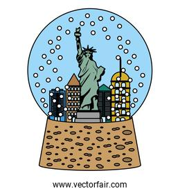color statue liberty inside snow ball glass