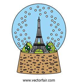 color eiffel tower inside snow ball glass