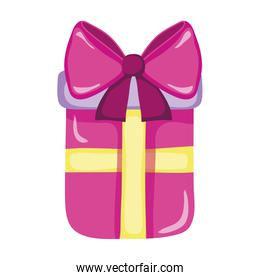 present gift box with ribbon bow