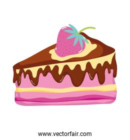 sweet delicious cake with strawberry fruit