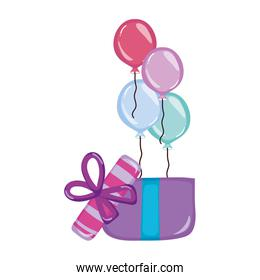 balloons with present gift birthday party