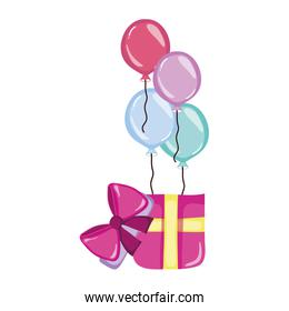 birthday party present gift and balloons