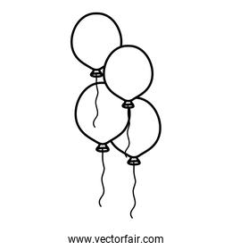 line cute party balloons objects design