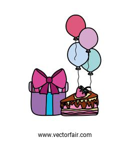 color present gift with cake and balloons birthday party