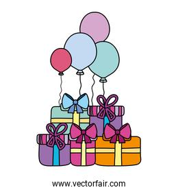 color present boxes with balloons birthday party celebration