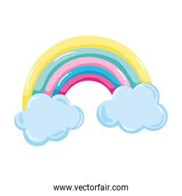 beauty nature rainbow with fluffy clouds
