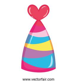 party hat with lines and heart decoration