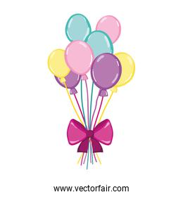 funny balloons style with ribbon bow