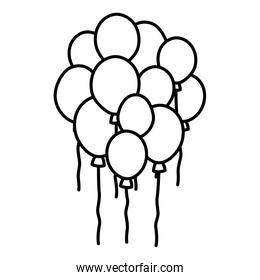 line cute balloons party decoration design