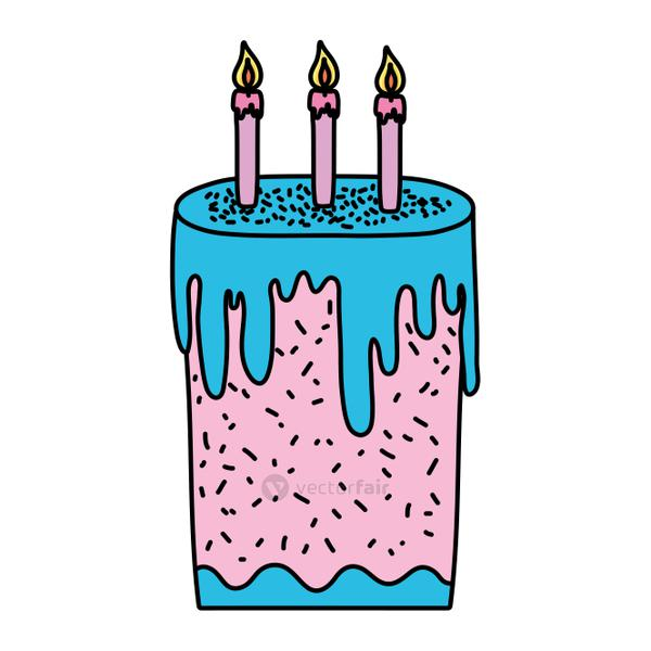 color sweet cake with burning candles style