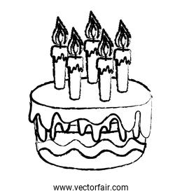 grunge delicious cake with burning candles style