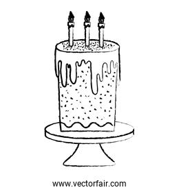 grunge sweet cake with burning candles in the table