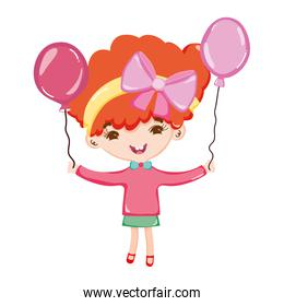 nice girl child with hair and balloons