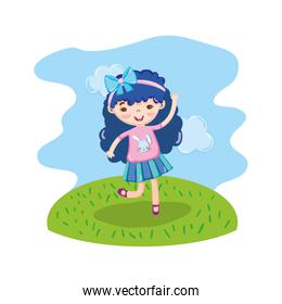 funny girl child with hairstyle in the landscape