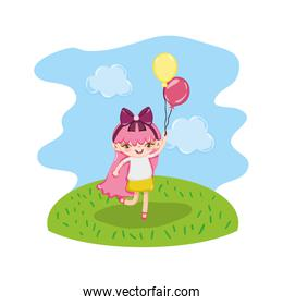 girl child with nice balloons in the landscape