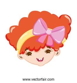 nice child girl head with hairstyle
