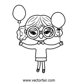 line nice girl child with glasses and balloons