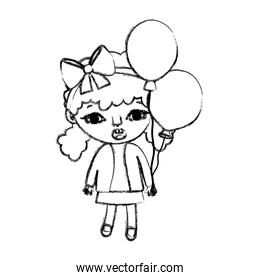 grunge girl child with two tails and balloons