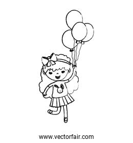 grunge girl child with curly hair and balloons