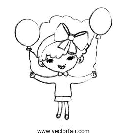 grunge nice girl child with hair and balloons