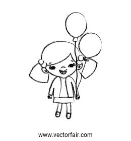 grunge beauty girl child with hairstyle and balloons