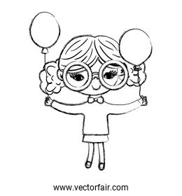 grunge nice girl child with glasses and balloons