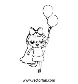 grunge girl child with long hair and balloons