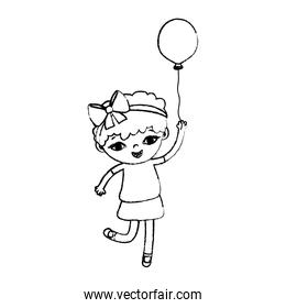 grunge girl child with curly short hair and balloon